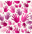 Breast cancer awareness ribbon women hands vector image