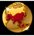 Golden globe with marked of Asia countries vector image