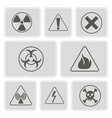 monochrome icons with warning signs vector image