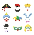 Photo booth Birthday and Party Set - glasses hats vector image