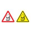 Warning sign attention beer mug Hazard yellow sign vector image