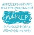 Marker pen cyrillic alphabet vector image