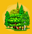 green forest summer trees collection in nature vector image