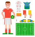 football soccer icons player trophy competition vector image