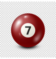 billiardred pool ball with number 7snooker vector image