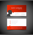 modern simple red business card template with vector image