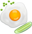 fried egg green Peas cucumber vector image