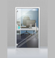 office interior through glass door flat vector image vector image
