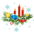 Christmas wreath Spruce branches with candles vector image