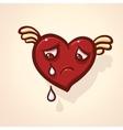 Fulish cartoon heart with wing vector image