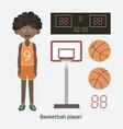 black boy holding basketball vector image