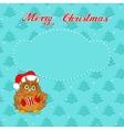 Christmas card with owl vector image