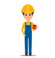 constructor worker handsome builder holding cup vector image