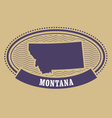 Montana map silhouette - oval stamp vector image