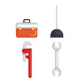plumbing line tools set icons vector image