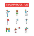 video production thin line icons vector image