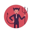 Devil man in a red circle vector image