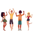 Young people dancing on the beach vector image