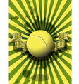 tennis ball on a green background vector image vector image