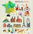France landmarks and travel map france travel vector image
