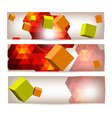 Set of banners with 3d geometrical elements vector image
