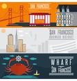 San Francisco landmarks horizontal flat design vector image