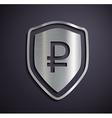 Flat metallic logo ruble vector image