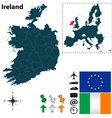 Ireland and European Union map vector image