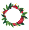 Pine wreath and red Christmas decorations vector image
