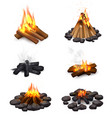 realistic steaming campfire collection vector image