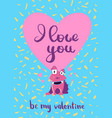 valentines day card with hearts cute vector image