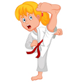 Young girl training karate vector image