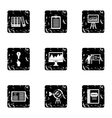Firm icons set grunge style vector image vector image