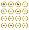 fish icon circle vector image
