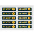 Bitcoins are accepted here icons in a flat style vector image