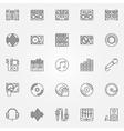 DJ linear icons set vector image