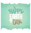 Vintage Earth Day Poster Rays leaves clouds sky On vector image vector image