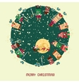 Christmas card with cute little town vector image