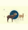 night deer love vector image