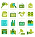 Real Estate Icons Green vector image