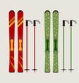 ski and ski sticks vector image