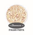 sticker with hand drawn pasta casarecce vector image