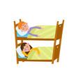 vecotr flat cartoon girl and boy sleeping in beds vector image
