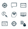 set of 9 seo icons includes keyword marketing vector image