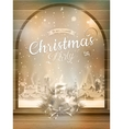 Christmas candle burns in the window EPS 10 vector image