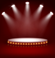 Illuminated Festive Stage Podium with Lamps on Red vector image