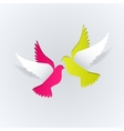 Couple of paper doves on a white background vector image