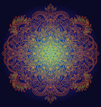 ethnic pattern authentic orange mandala print on vector image