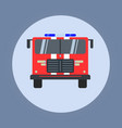 fire engine flat icon isolated red vector image