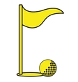 golf ball and flag graphic vector image